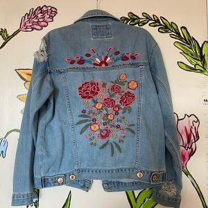 Distressed Floral Jean Jacket